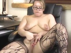 Blonde mature Ashley Rider with hot love bubbles in stripping adult video in office