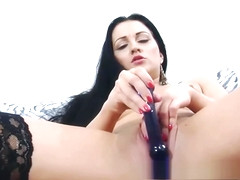 Czech slut Clair Brooks is playing with her glass dildo