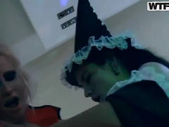 College sex on Halloween party with Ally,Amelia,Ariana,Demi,Malika,Olive,Olympia and Yani.