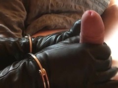 Morning in the cottage... in handcuffs and leather gloves