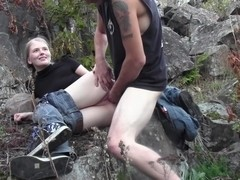 Evelina Juliet in horny amateur gone wild fucking in a forest