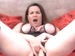 Fingering My Pussy In Open Cup, Crotchless Teddy and Boots