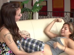 Exotic pornstars Devinn Lane and Gina Ryder in amazing blowjob, brunette porn movie