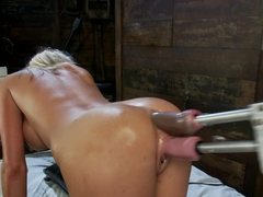 Crazy fetish, blonde adult movie with horny pornstar Kaylee Hilton from Fuckingmachines