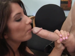 Karina White sucks big cock of her boss Johnny Sins in an office