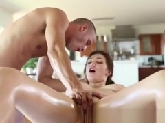 Big Titty Brunette Sucking Dick On Portable Massage Table