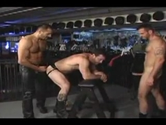 3 boys in sex shop for Leather