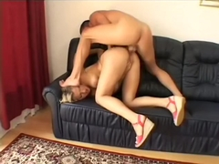 Amusing babe with deep cunt Misty Mild has her rear end fucked
