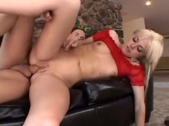 Blonde slut with small tits Angela Stone gets fucked hard in all holes