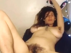 Sexy natural hairy hippie spreads legs and dances on cam