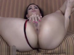 Raven-haired Girl Spreads Her Legs And Masturbates