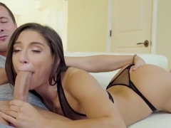 Abella Danger in skimpy fishnet underwear sucks a huge cock