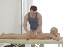 Lusty blondie's private massage