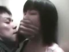 The girl were kiss by strange men in the toilet