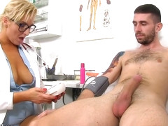 Busty blonde doctor with glasses, Brigitta likes to feel warm cum all over her natural boobs