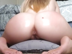 Pillow Humping, Oil, and Hitachi Vibrator Orgasm
