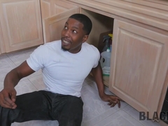 BLACK4K. Hottie gets on her knees and blows cock of black repairman