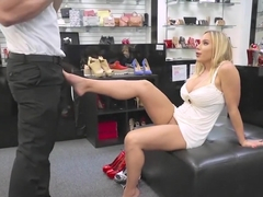Olivia Austin fucks the foot fetishist store clerk for a discount
