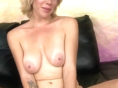 Sasha Sweet petite blonde gags on dicks