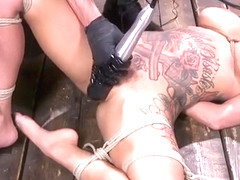 Alt busty slave in hogtie with bamboo