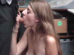 Shoplifting Blonde Teenager Caught And Fucked By Security Officer For No Charges