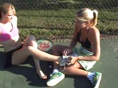 Stinky wet tennis feet