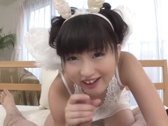 Beautiful Japanese teenage girl Maria Kotobuki making guy happy by giving an amazing handjob