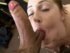 Young lady Randi gives professional blowjob for her boyfriend