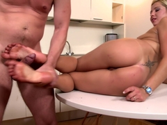 Candy Love Gives Her Man Cake & A Foot Job