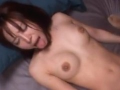 Ren Misaki Asian doll is loaded with semen in bukkake