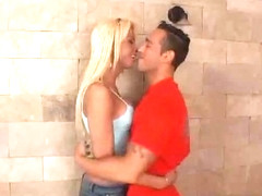 Yummy blond Tgirl plays with a wild guy