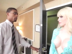 Pale blonde shemale with big tits sucks and gets fucked