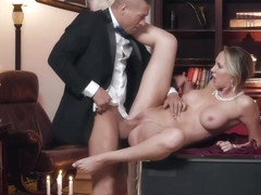 Classy blonde woman, Brett Rossi is amusing her husband's handsome friend with her pussy and .