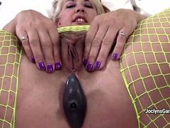 BBW pornstar Joclyn Stone fingers her wet hairy pussy with pins on it
