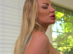 Busty blonde is moaning from the race on the penis and gentle Masturba...