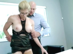 Busty blonde woman with glasses, Cory Chase got fucked in many positions, until she came