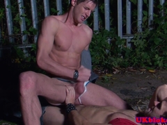 Jace Tyler anally fucking Gabriel Clark outdoors
