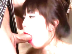Asian babe in lipstick does anal