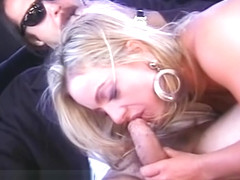 Busty blonde mommy suck and fuck dick for fresh cum on backseat