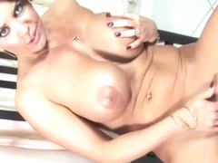 Heavenly busty experienced female Janet Mason giving very hot blowjob