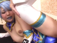 Pretty buxomy Japanese Rei Mizuna gives a magic BJ in public place