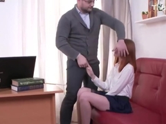Nice bookworm gets teased and reamed by her aged teacher