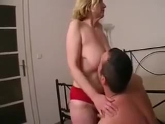 Blonde mature with saggy tits