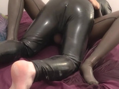 Mistress loves to pee and fuck in her latex catsuit - anal plug bonus