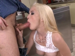 Blonde Tiffany Fox fucked in throat and cunt