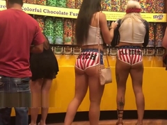 2 big booties in tight short shorts candid