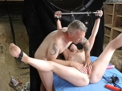 Amateur bondage in the cellar tied and blindfolded wife