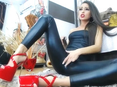 Red High Heels Boots Wetlook leather pvc shiny Leggings Camhirl