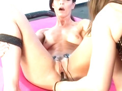 Mistress and slave electro fisting and dildo fucking