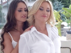 Sensual lesbian scene by Sapphix with Lindsey Olsen and Kendra Star - Natural Love